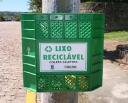 Foto da lixeira de material reciclável