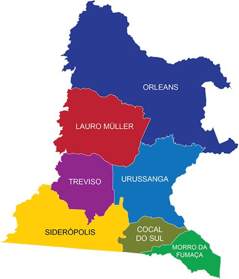 Mapa região sul Santa Catarina